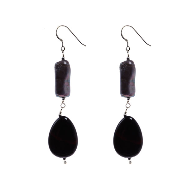 Sterling Silver Freshwater Pearl Earring with Black Agate Earring (TRE-3600)