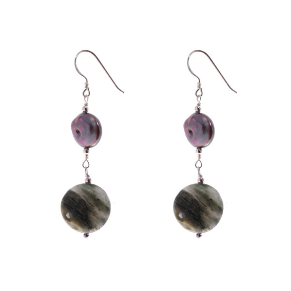 Freshwater Pearl Dangle Earrings by IPEARL with Agate