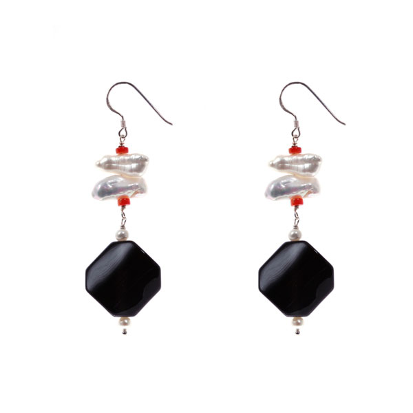 Freshwater Pearl Earrings by IPEARL with Coral & Black Agate