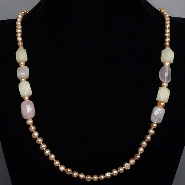 30 inch Freshwater Pearl Necklace by IPEARL with 7-8mm Pink Baroque Pearls and Jade
