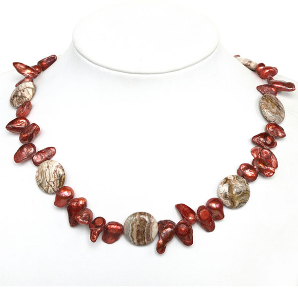 20 inch Freshwater Pearl Necklace by IPEARL with Red Blister Pearl and Agate; Copper Clasp