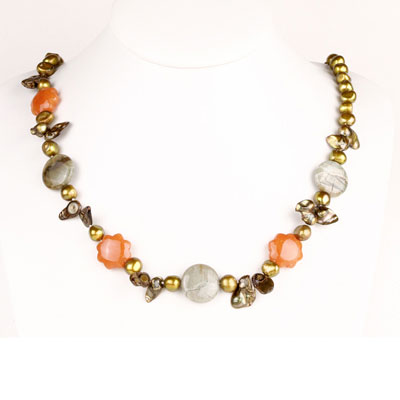 24 inch Freshwater Pearl Necklace by IPEARL with 7-8mm Yellow Baroque Pearls, Jade & Jasper