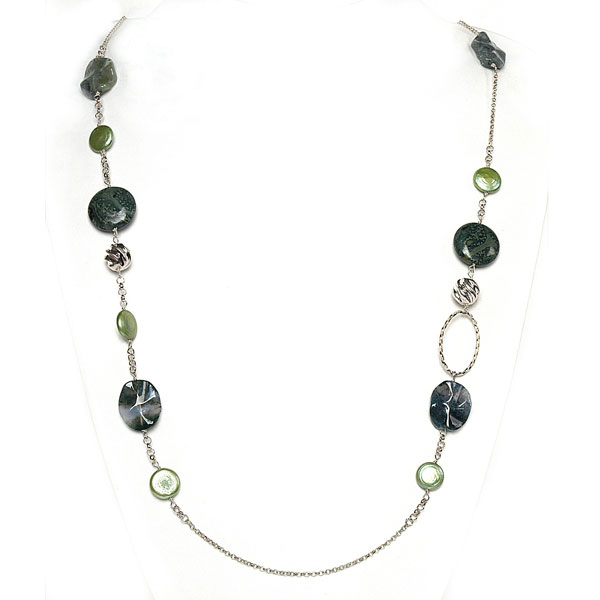 IPEARL  36 inch Freshwater Pearl Necklace with Coin Green Pearl, Agate and Rhyolite
