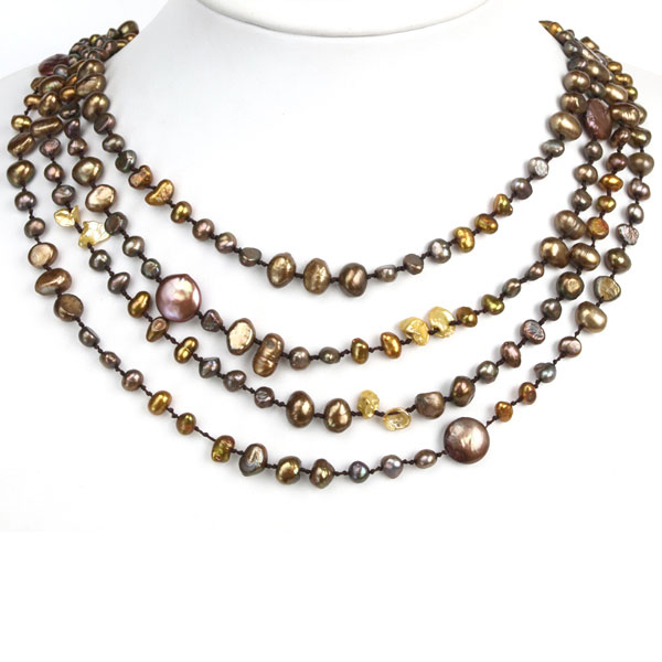 Freshwater Pearl Necklace by IPEARL with 4-5mm Brown Baroque Pearls; Pearl Clasp
