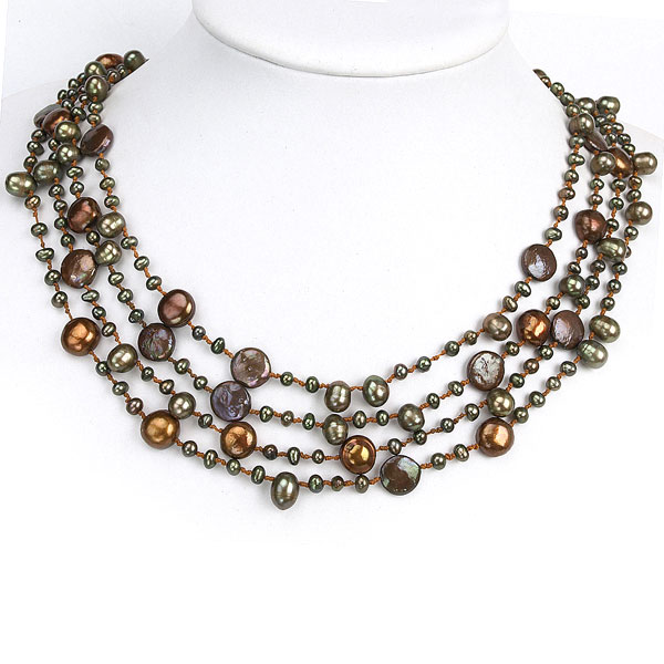 Freshwater Pearl Necklace by IPEARL with Round Pearls & 11-12mm Brown Coin Pearls; Pearl Clasp