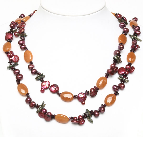 48 Inch Freshwater Pearl Necklace by IPEARL with 8-9mm Red Rice Pearls, Garnet & Aventurine (TRN-2723)