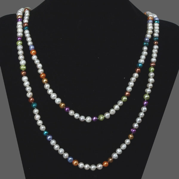 64 inch Freshwater Pearl Necklace by IPEARL  with 7-8mm Multicolor Round Pearls