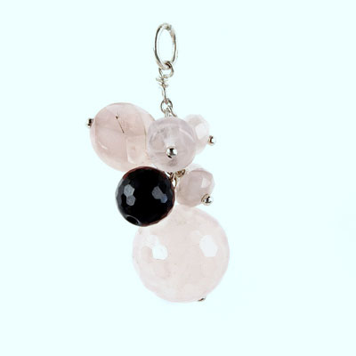 Freshwater cultured pearls with Rose Quartz, Black Agate, Silver Pendant