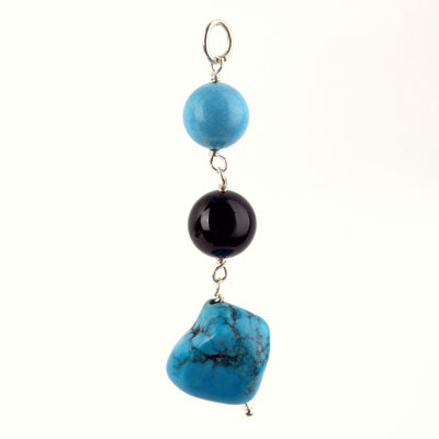 Freshwater cultured pearls with Turquoise, Black Agate, Sterling  Silver Pendant
