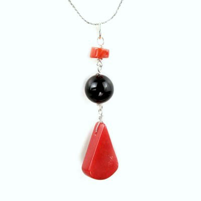 Freshwater cultured pearls with Red Coral, Black Agate, Silver Pendant